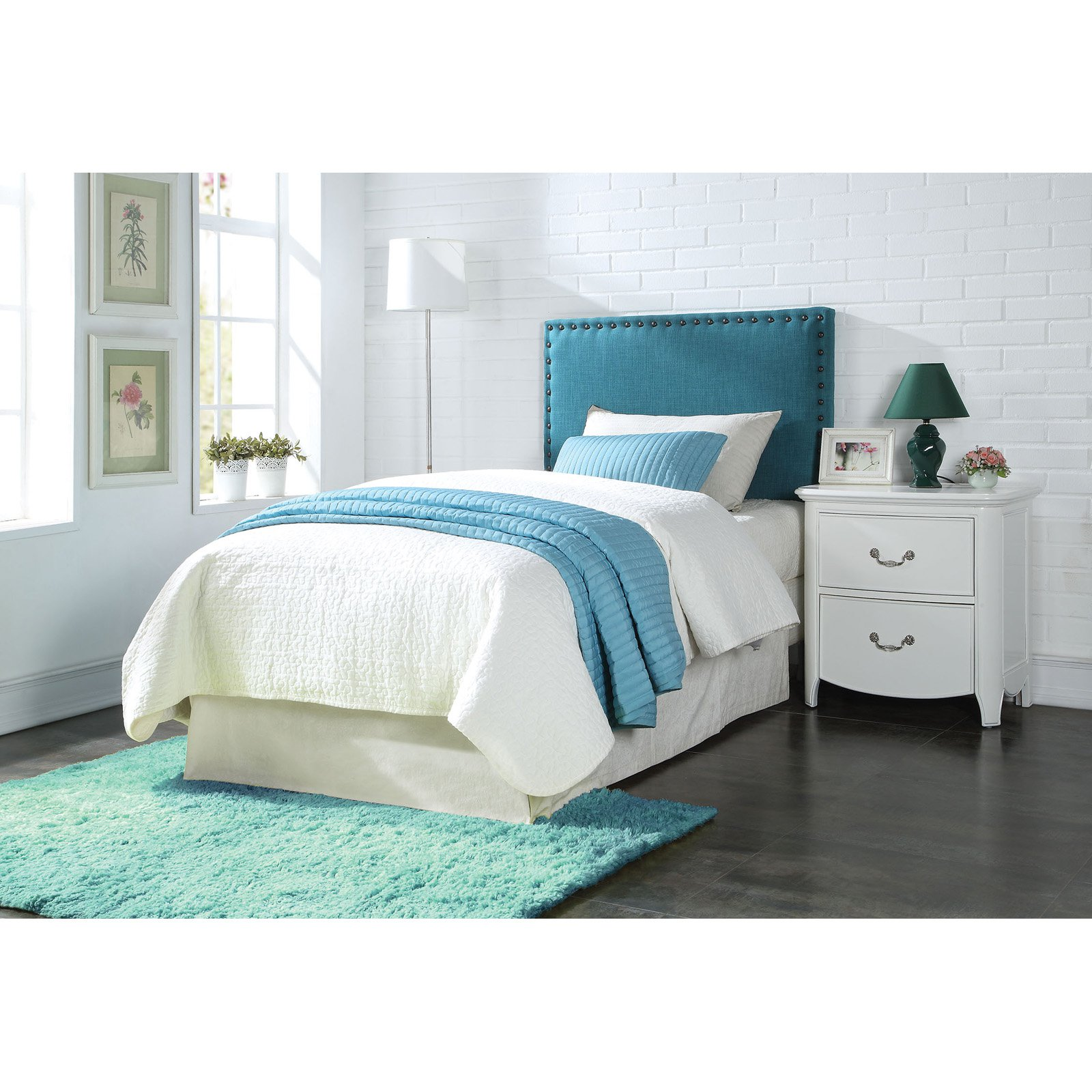 ACME Furniture Sabina Blue Linen Twin Headboard