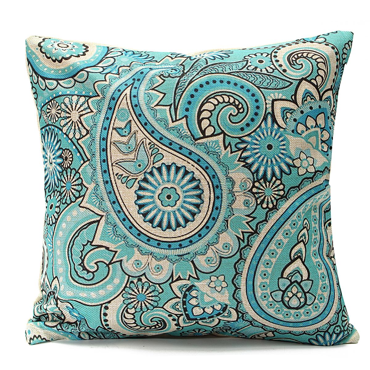 "Home Decoration 18/""x18/"" Blue Leaves Cushion Cover Throw Pillow Case Sofa Waist"