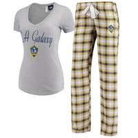 LA Galaxy Concepts Sport Women's Forge Flannel Set - Navy/Gold