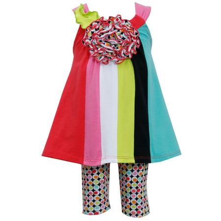 Bonnie Jean Retro Colorblock Tunic Polka Dot Capri Set 12 months