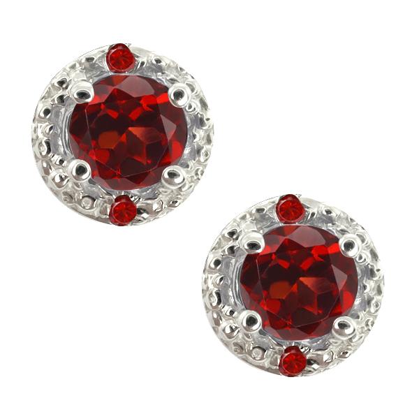 0.77 Ct Genuine Round Red Garnet Gemstone 18k White Gold Earrings
