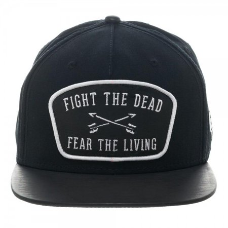 The Walking Dead Fight the Dead Fear the Living Leather Patch Snapback Hat - Day Of The Dead Hat