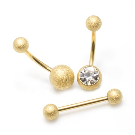 Gold Belly Button Ring and Tongue Ring Barbell Package of 3 Sand Finish CZ - 14k Gold Belly Button Ring