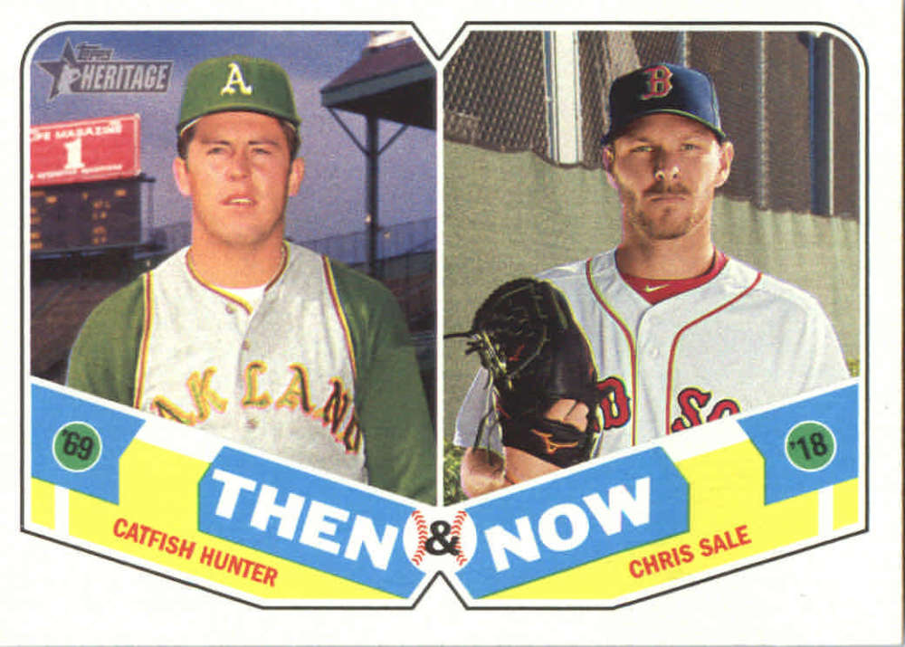 2018 Topps Heritage Then And Now Tn 15 Chris Salecatfish Hunter Boston Red Soxoakland Athletics Baseball Card