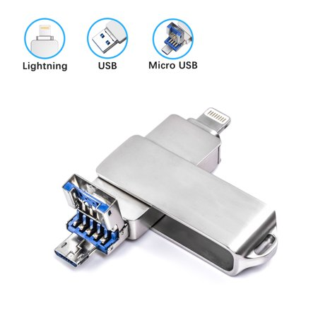 32GB USB Flash Drive for iPhone KOOTION USB 3.0/Lightning/Micro USB 3-In-1 Metal USB Thumb Drive 3.0 Jump Drives USB Memory Stick External Storage for iOS iPhone iPad MacBook PC, Android, Silver ()