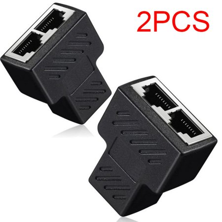 2 Pack RJ45 Splitter Adapter 1 to 2 Ways Dual Female Port CAT5/6/7 LAN Ethernet Cable Splitter Connector (Cable Ethernet Splitter)