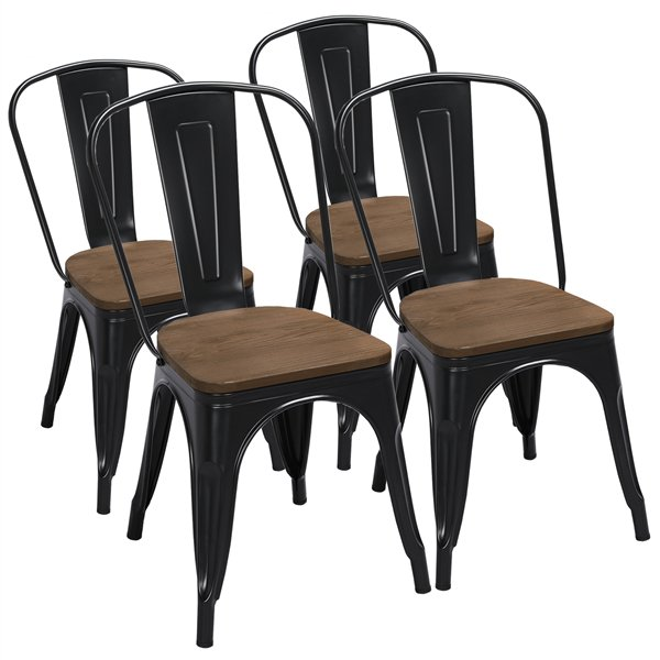 Metal Dining Chairs With Wooden Seat, Black Wooden Dining Chairs Set Of 4