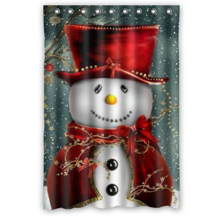 GreenDecor Christmas Snowman Waterproof Shower Curtain Set with Hooks Bathroom Accessories Size 36x72 inches](Snowman Bathroom Sets)