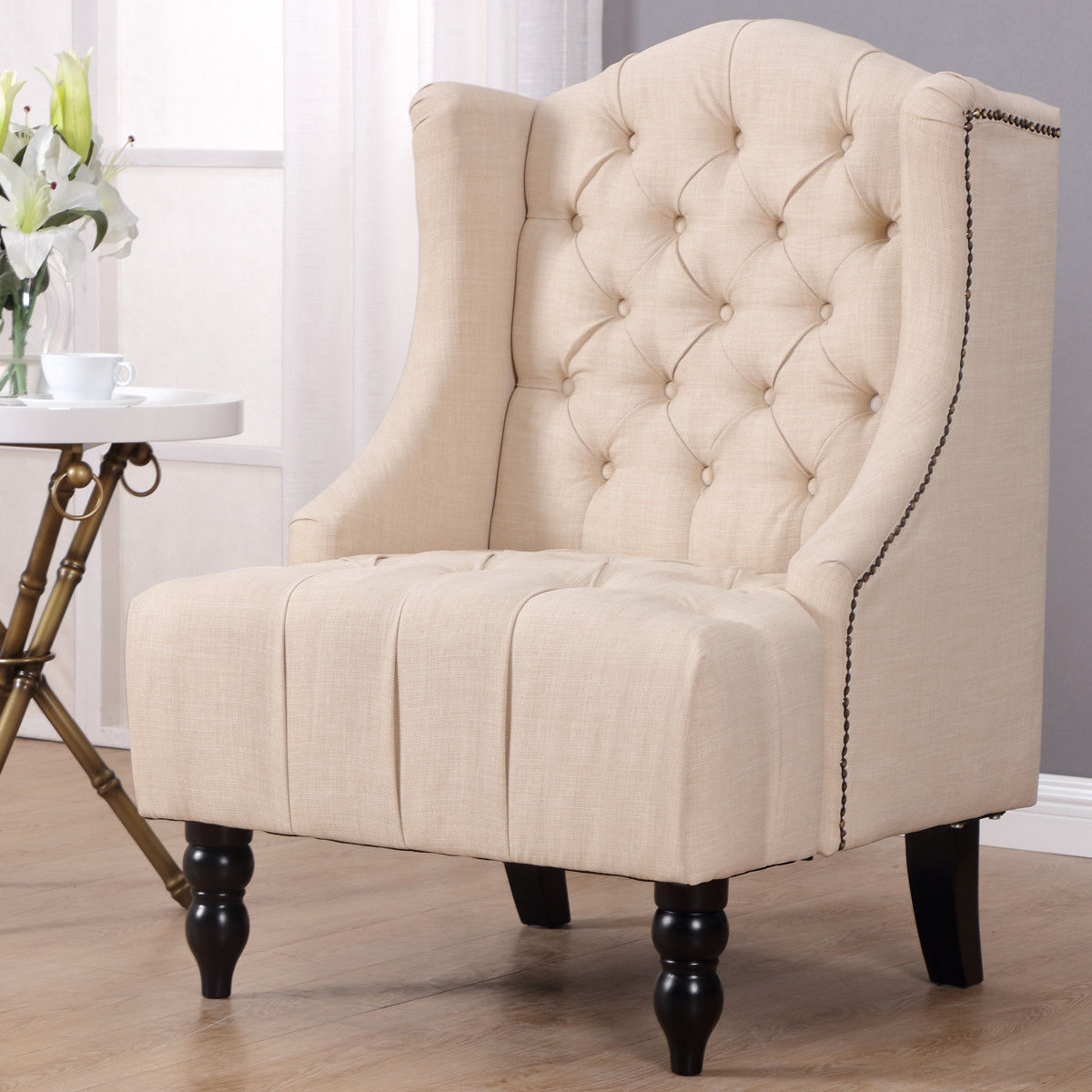 Costway Modern Tall Wingback Tufted Accent Armchair Fabric Vintage Chair Nailhead Beige by Costway