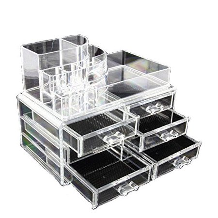 Clear Acrylic Cosmetics Makeup Organizer 6 Drawers with 8 Compartments Top Section - Goddess Halloween Makeup Ideas