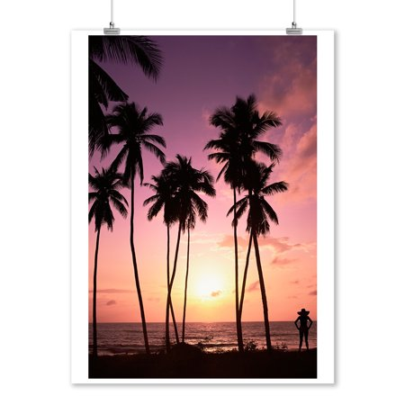 Beach Scene - Palm Trees & Woman Silhouette at Sunset - Lantern Press Photography (9x12 Art Print, Wall Decor Travel Poster) - Palm Trees And Beach Scenes