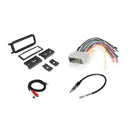 radio stereo install dash kit + wire harness + antenna adapter for dodge  caravan (02