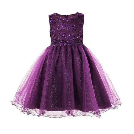 OKIDSO Dress Lovely Children Dress Flower Girl Dress Sundress with Embroidery