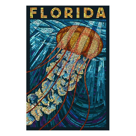 Jellyfish Paper Mosaic - Florida Print Wall Art By Lantern Press (Jellyfish Paper)