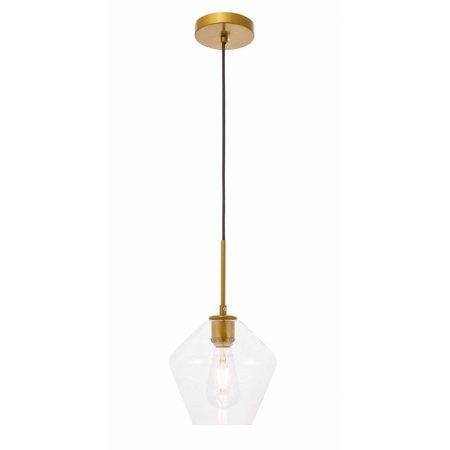 Gene 1 light Brass and Clear glass (Brass Pendant Stem)