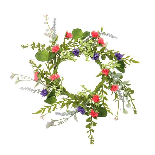 August Grove Artificial Wildflower Candle 13'' Wreath (Set of 2)
