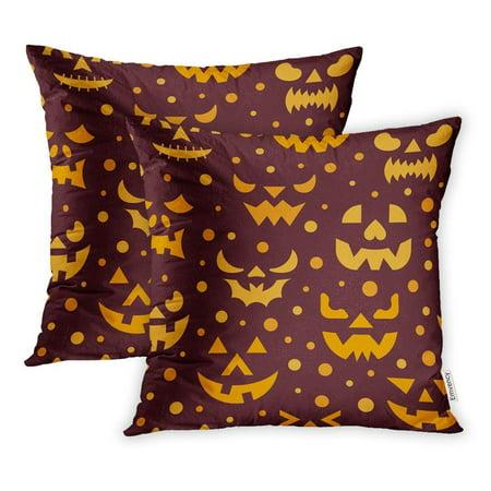 Scary Teeth Halloween (ARHOME Cartoon Halloween Horror Face Evil Scary Spooky Eyes Angry Ghost Teeth Season Pillowcase Cushion Cover 18x18 inch, Set of)