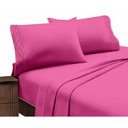 Home Sweet Home Extra Soft Deep Pocket Embroidery Luxury 4-Piece Bed Sheet Set (King, Hot Pink)