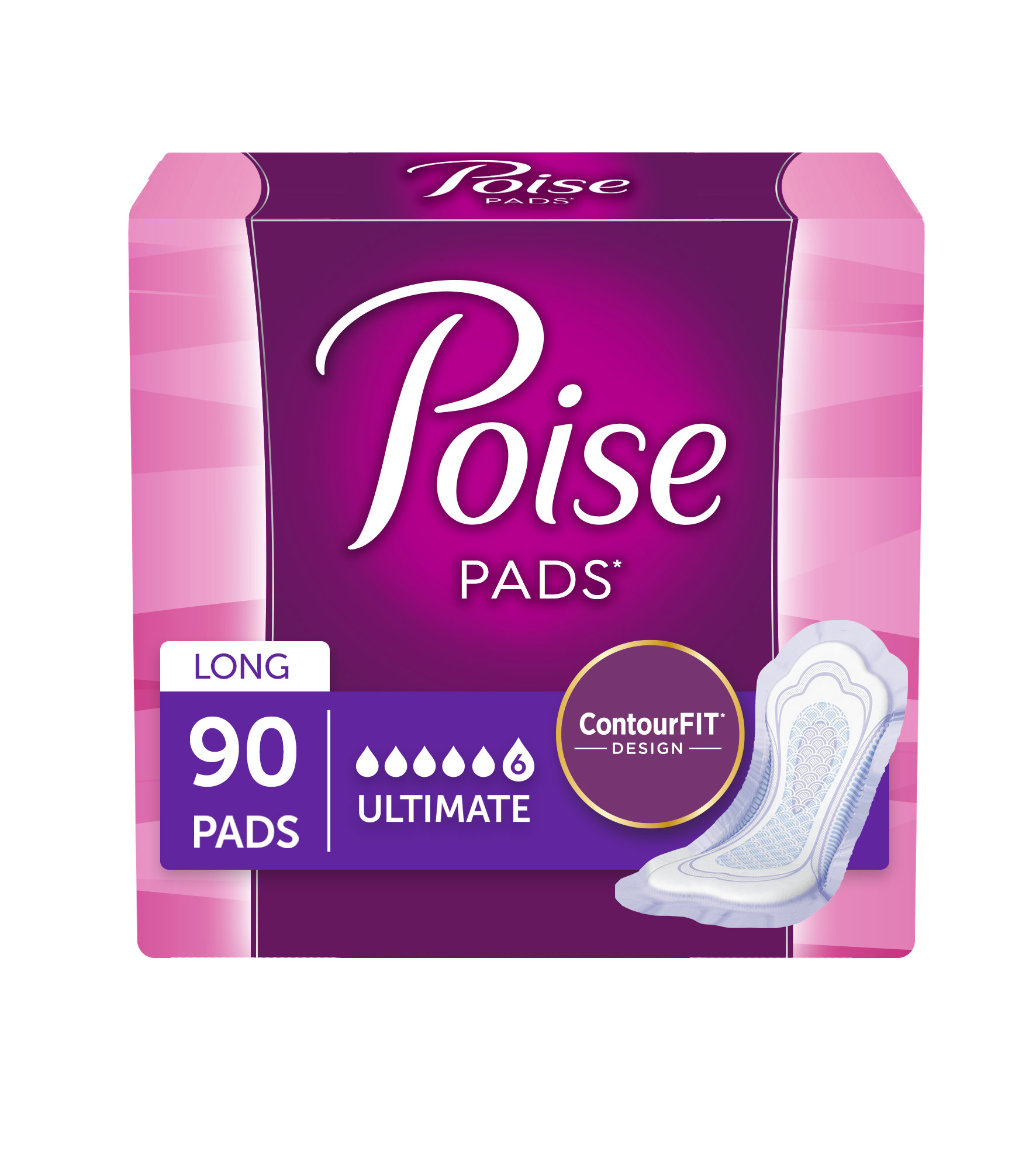 Poise Incontinence Pads, Ultimate Absorbency, Long, 90 count