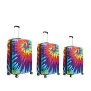 FUL Tie Dye Nested 3 Piece Luggage Set, Spinner Rolling Luggage Suitcases, 28in, 24in, and 20in Sizes, ABS Hard Cases, Pink