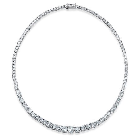 Bridal Cubic Zirconia Graduate Round Solitaire Statement AAA CZ Tennis Necklace For Women For Prom Silver Plated Brass
