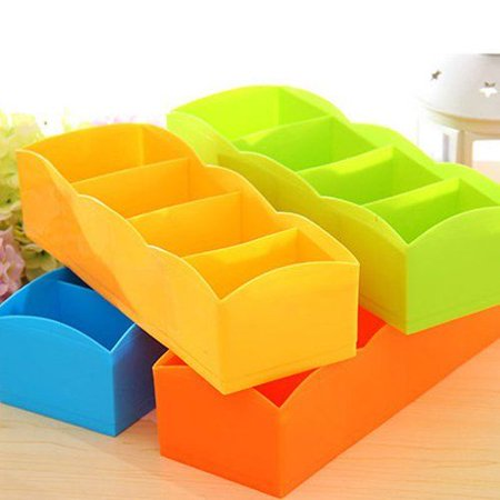 BDS - Creative Candy-Colored Socks Underwear Storage Box Multi-Function Orange