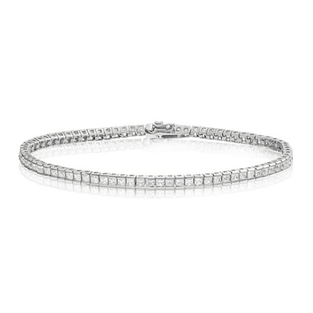 Rhodium Plated Sterling Silver Square Princess Cut 2x2 White Cubic Zirconia Tennis Bracelet 7.25