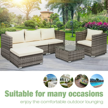 Uenjoy 6PC Rattan Wicker Outdoor Funiture Set Sectional Garden Sofa,Gray - Uenjoy 6PC Rattan Wicker Outdoor Funiture Set Sectional Garden Sofa