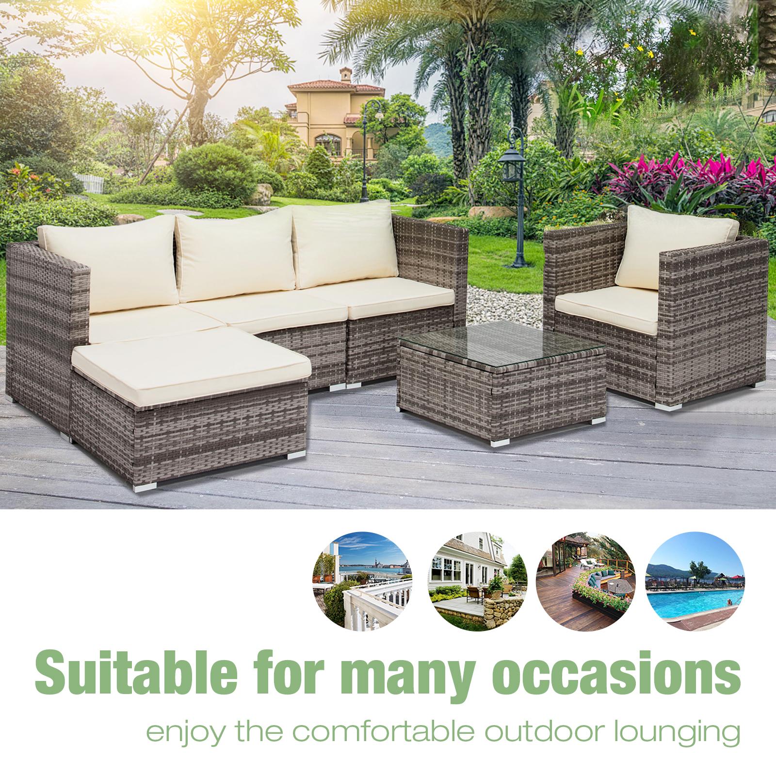 Uenjoy 6PC Rattan Wicker Outdoor Funiture Set Sectional Garden Sofa,Gray
