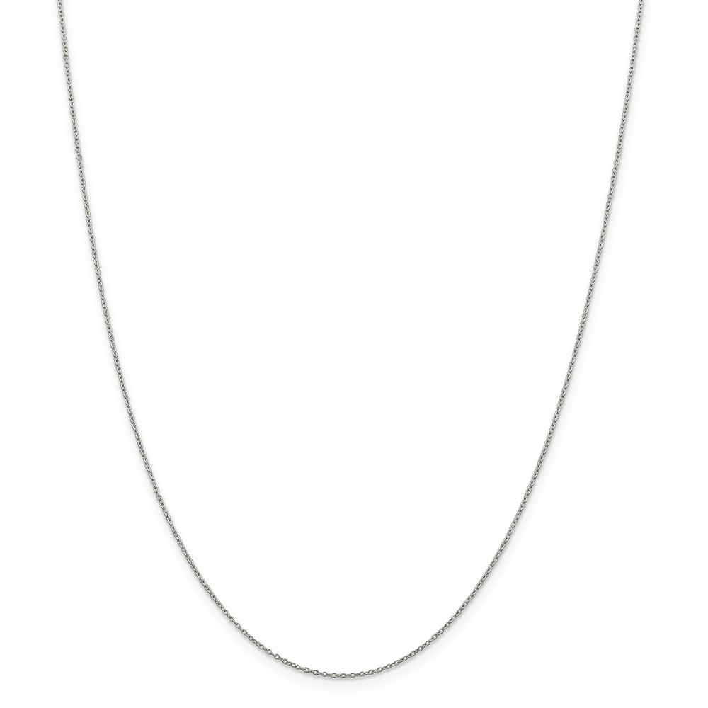 "925 Sterling Silver 1mm Rhodium Curb Necklace Chain -16"" (16in x 1mm)"