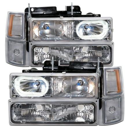 1994-1998 Chevy Truck 8-Piece Chrome Headlights Set w/Halos and Xenon Bulbs GM2502101 &