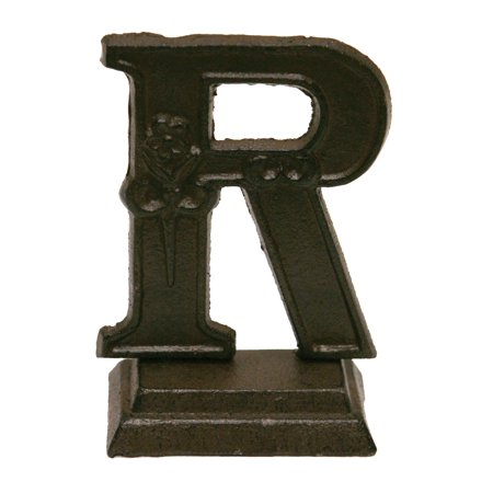 Iron Ornate Standing Monogram Letter R Tabletop Figurine 5 Inches