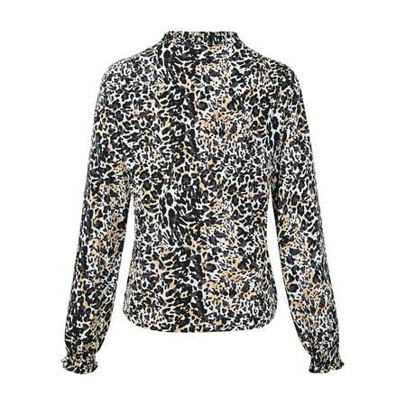 163d7f4d26ff7 LEFASHION - LEFASHION Women Leopard Print Long Sleeve Deep V Neck Button  Front Wooden ear Blouse Shirt Top - Walmart.com