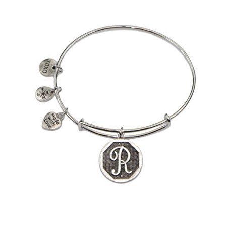 Jewels Fashion Hypoallergenic Rhodium Plated Surgical Steel Initial Expandable Wire Bangle Bracelet, 2.5