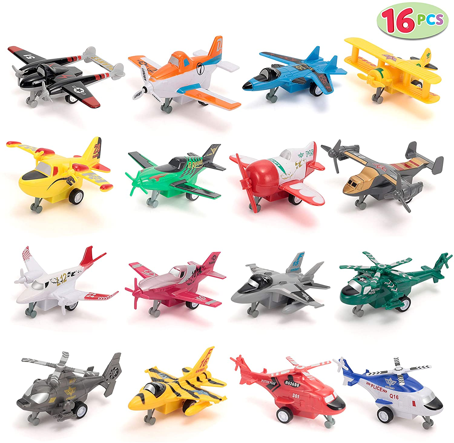 Gold Toy 16 PC Pull Back Aircraft Airplane Plane Toys ...