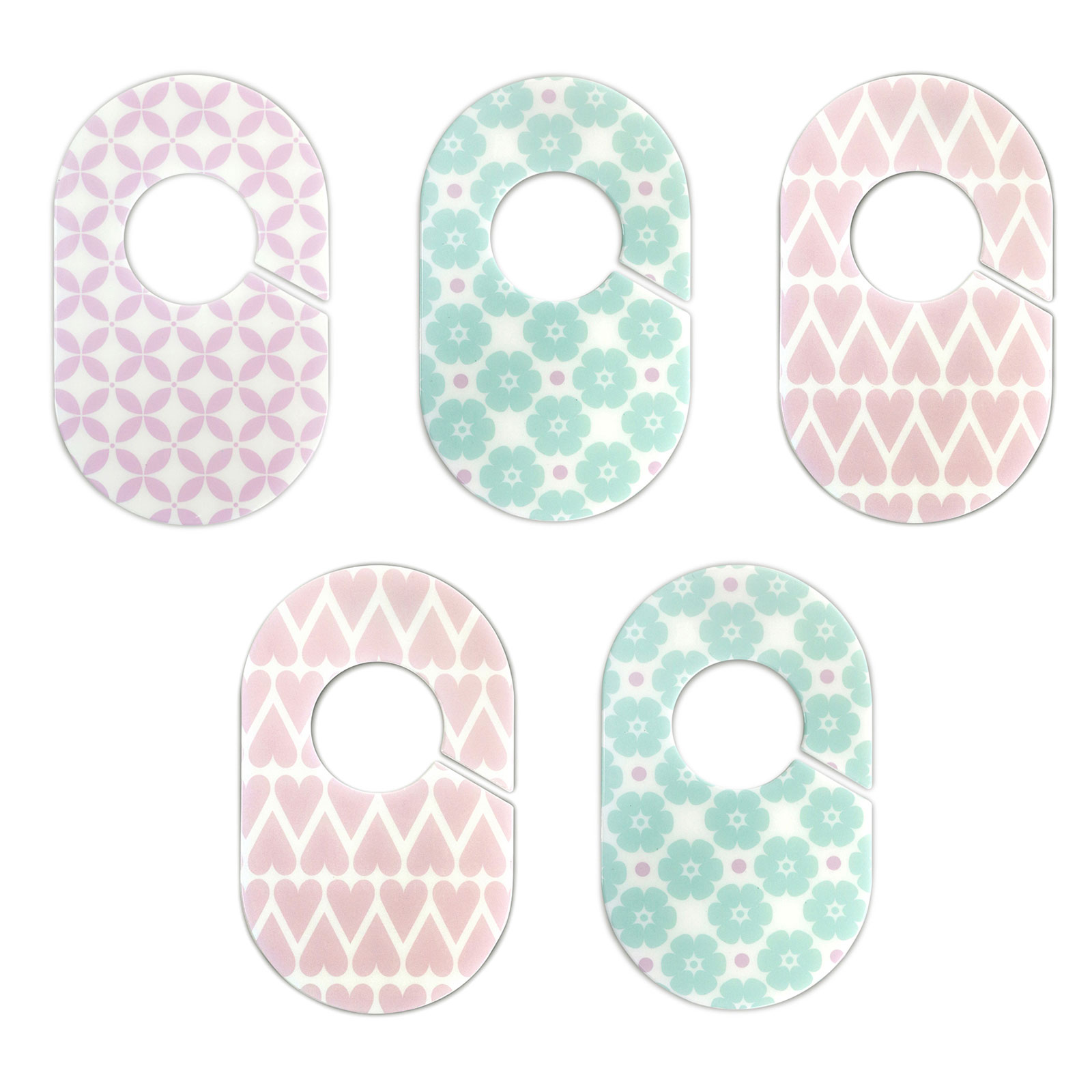 Little Haven Nursery Closet Organizers Dividers - Pink and Lilac Green Flowers and Hearts - Set of 5 Plastic Baby Closet Rod Dividers