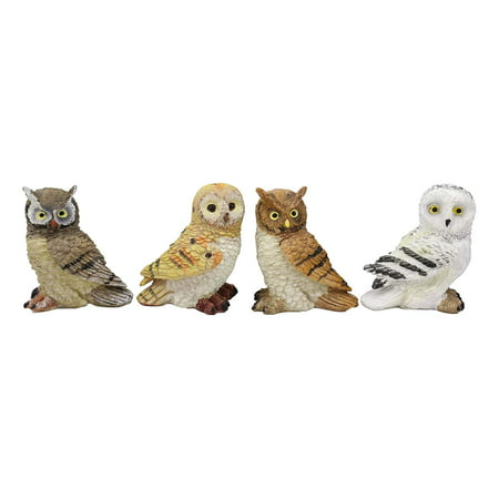 Ebros Colorful Nocturnal Owls Of The World Miniature Figurine Set of 4 Whimsical Forest Owl Bird Themed Accent Snow Barn Great Horned Species Hand Painted Resin Sculptures ()