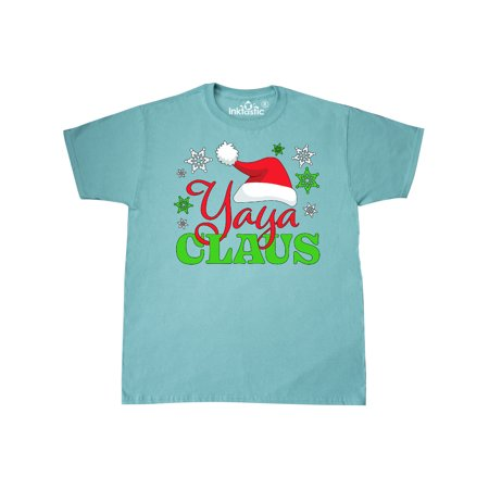 Yaya Claus with Christmas Santa Hat and Snowflakes T-Shirt