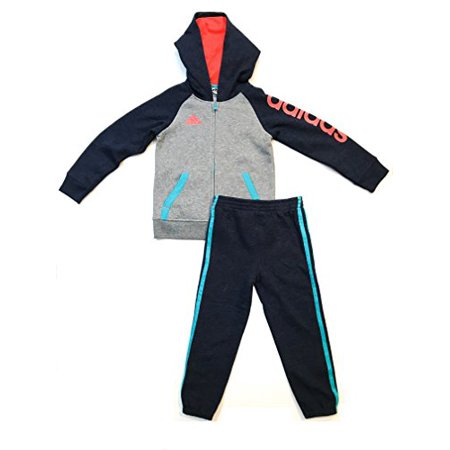 - adidas Boys' Hooded Jacket and Jogger Pant Set (7, Solar Grey)