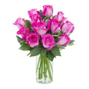 Arabella Farm Direct Bouquet of 12 Fresh Cut Hot Pink Roses with Free Vase | A Donation Will Be Made to The Cancer Research Institute for Each Bouquet Purchased