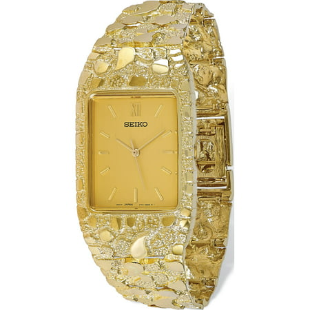 10k Yellow Gold Champagne 27x47mm Dial Square Face Nugget Watch Unisex Yellow Dial