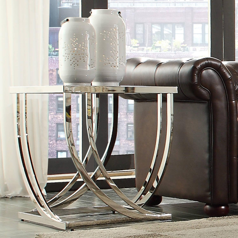 Chelsea Lane Sculptural End Table, Brushed Steel