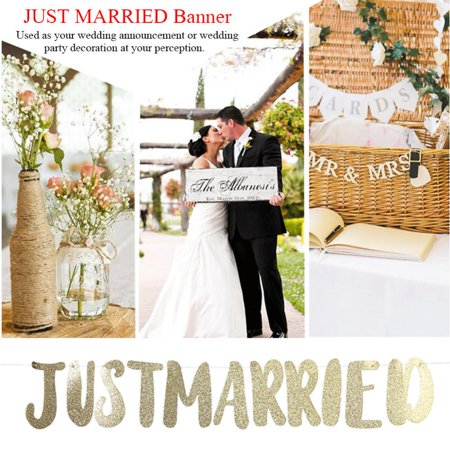 Banners Com Coupon (LYUMO JUST MARRIED Banner Bunting Letter Streamer Bridal Shower Wedding Decoration, Paper JUST MARRIED Banner, Wedding Party Decoration)