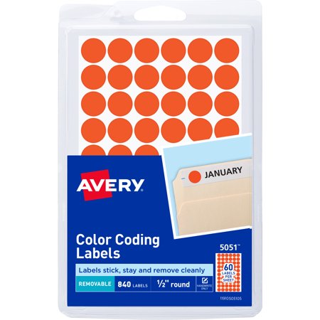 Avery Neon Red Removable Color Coding Labels 5051, 1/2