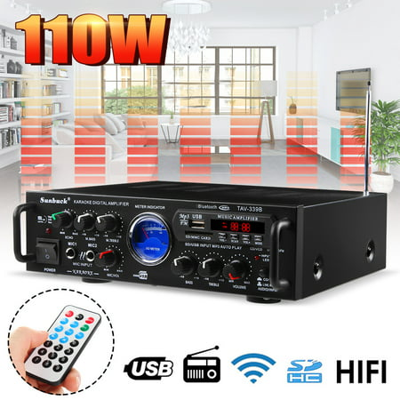 200W UV Meter Compact Bluetooth Home Audio Amplifier 2CH Audio Source Mini EQ HIFI Stereo Receiver System MP3/USB/SD/AUX/AV/FM Radio | Pager & Mixer Karaoke Modes | Mic