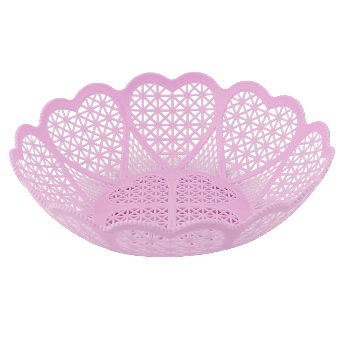 Home Kitchen Plastic Hollow Out Wavy Edge Design Fruit Storage Basket Tray Pink