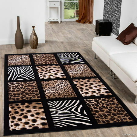 Allstar Black Dots Square Animal Prints Design Modern Geometric Area Rug (7' 9