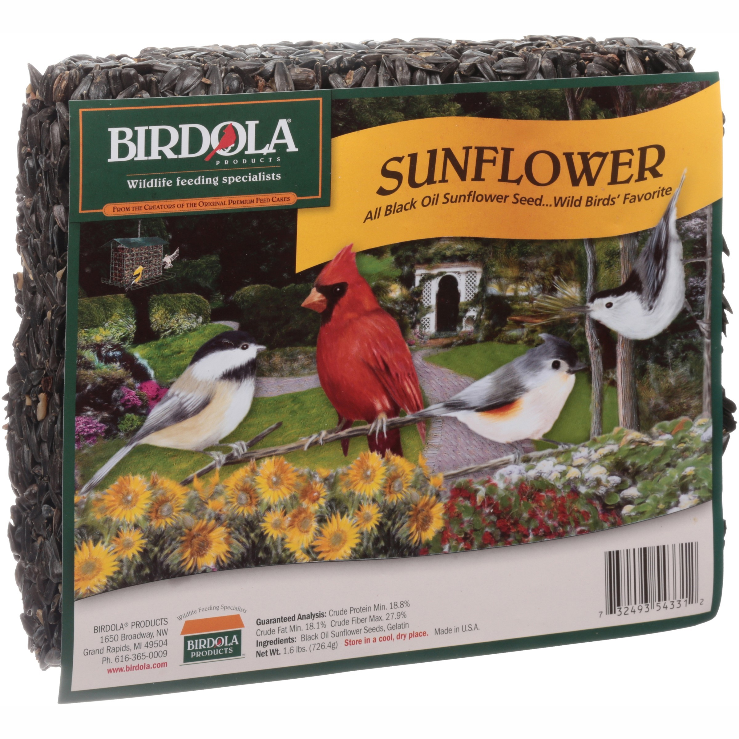 Birdola Sunflower Seed Cake for Wild Birds, 1.6-Pounds