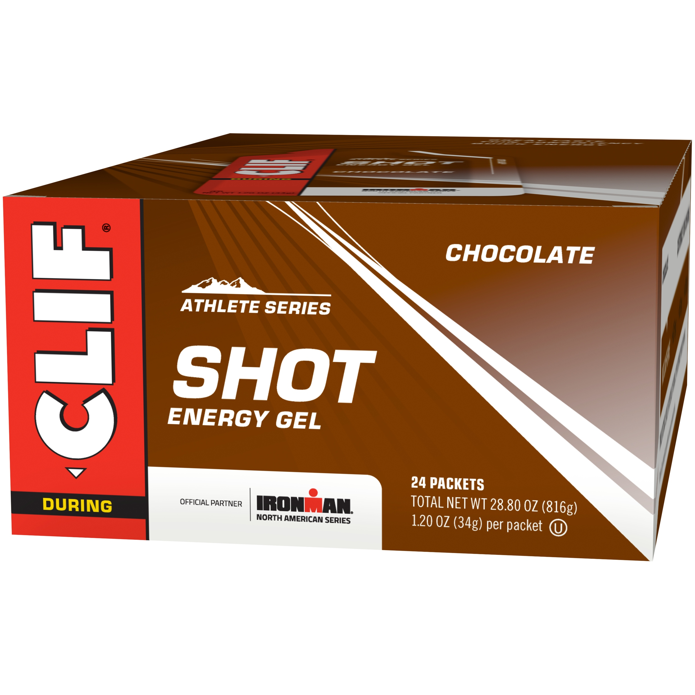Clif Shot Energy Gel, Chocolate, 1.2 Oz, 24 Ct