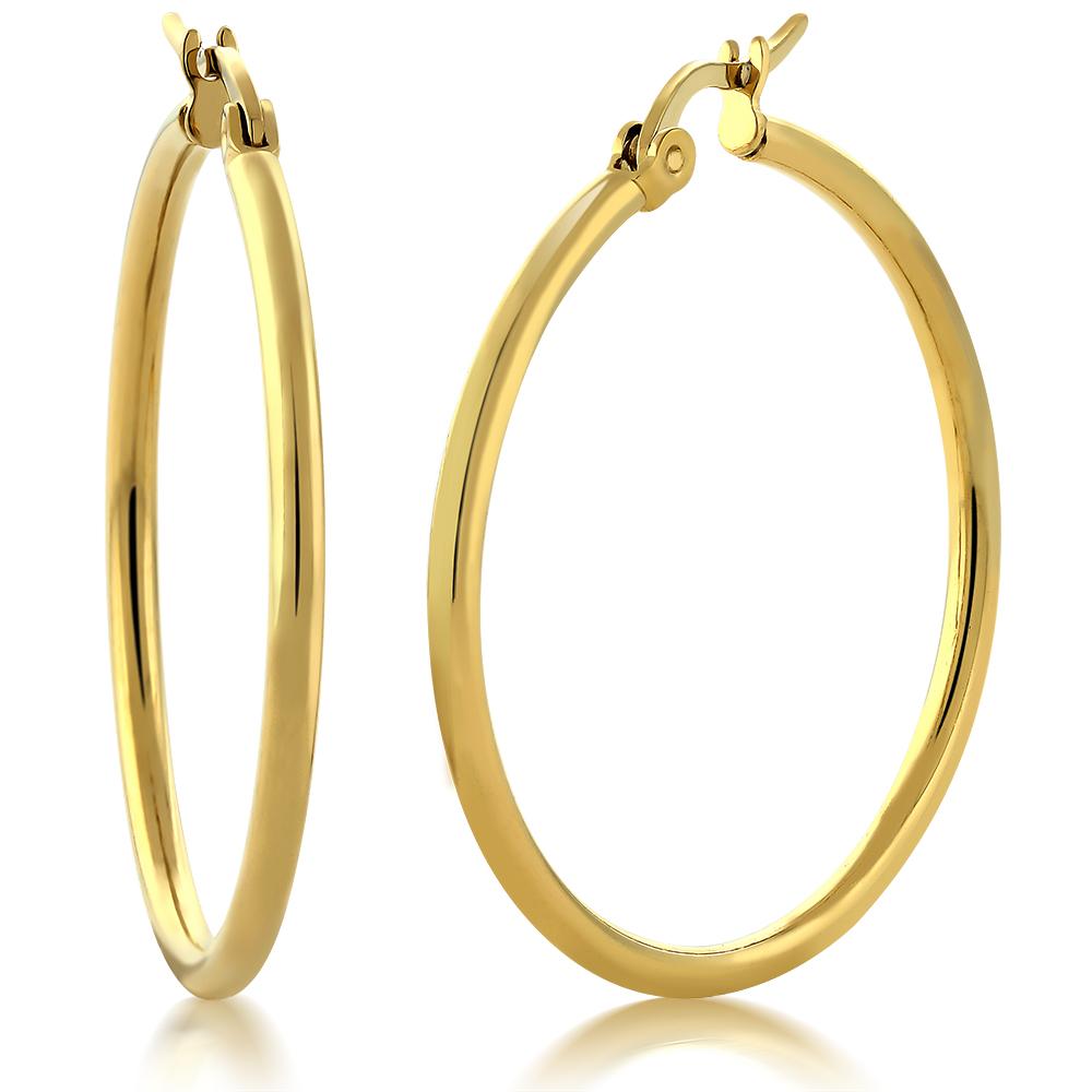 "1.25"" Stunning Stainless Steel Yellow Gold Plated Hoop Earrings (30mm Diameter)"
